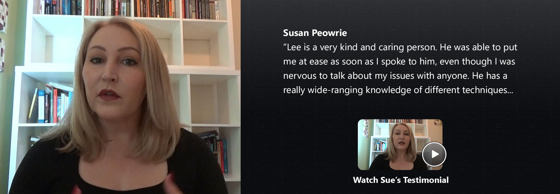 Susan Peowrie Therapist Review